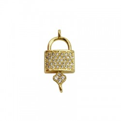 Brass Charm Locket Key w/ Zircon 22x10mm