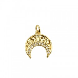 Brass Charm Moon w/ Zircon 15mm