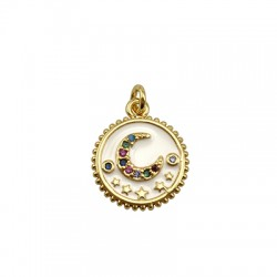 Brass Charm Round Moon w/ Zircon & Enamel 14mm