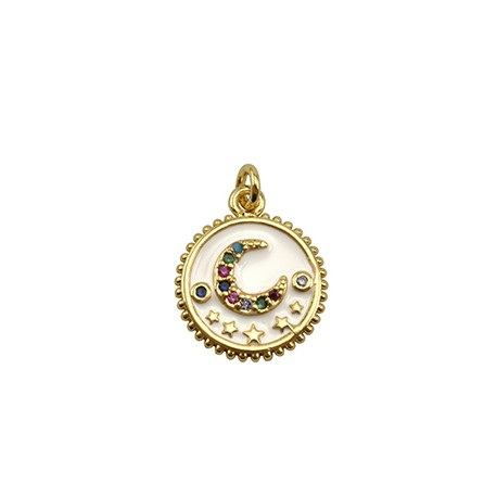 Brass Charm Round Moon w/ Zircon & Enamel 14mm