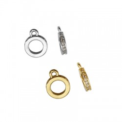 Brass Charm Circle w/ Zircon 8mm