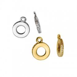 Breloque anneau en Métal/Laiton avec Zircons 10mm