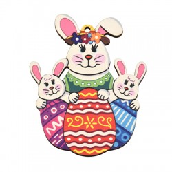 Wooden Pendant Bunny Egg 63x80mm