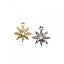Brass Charm Star w/ Zircon 10mm