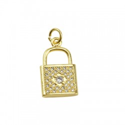 Brass Charm Locket w/ Zircon 11x20mm