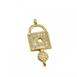 Brass Charm Locket Key w/ Zircon 23x10mm