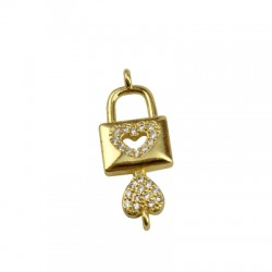 Brass Charm Locket Key Heart w/ Zircon 24x9mm