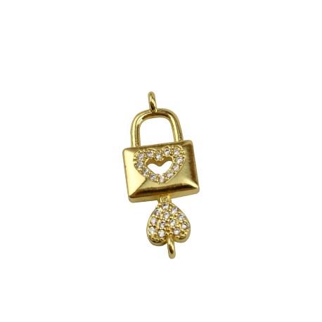 Brass Charm Locket Key Heart w/ Zircon 24x9mm