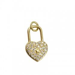 Pendentif cœur avec anneau en Métal/Laiton avec Zircons 18x11mm