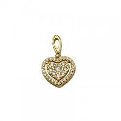 Brass Charm Heart w/ Zircon 13x12mm