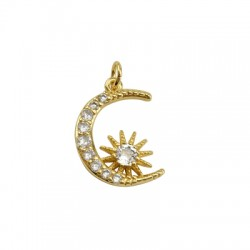 Brass Charm Moon w/ Zircon 16x21mm
