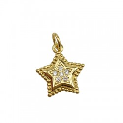 Brass Charm Star w/ Zircon 13mm