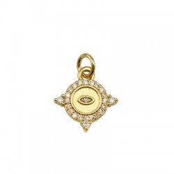 Brass Charm Rhombus w/ Zircon 13x14mm