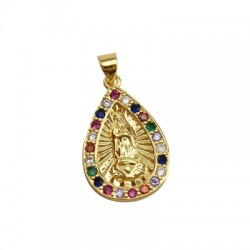Brass Charm Drop Religious w/ Zircon 16x25mm