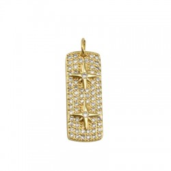 Brass Pendant Tag Star w/ Zircon 28x10mm
