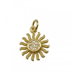 Brass Charm Round Sun w/ Zircon 13mm