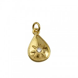 Brass Charm Drop Star w/ Zircon 11x17mm