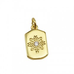 Brass Charm Tag Flower w/ Zircon 10x17mm