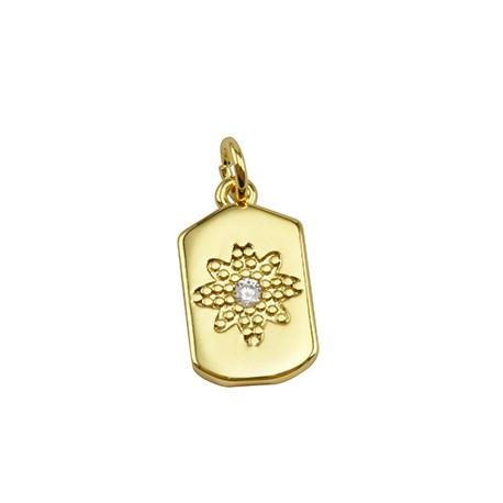 Brass Charm Tag Flower w/ Zircon 10x17mm