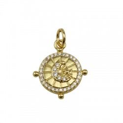 Brass Charm Round Moon w/ Zircon 15x17mm