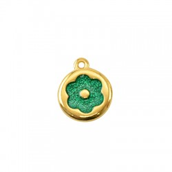 Zamak Charm Round Flower w/ Enamel 15mm