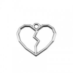 Pendentif cœur brisé en Métal/Zamak 25x21mm
