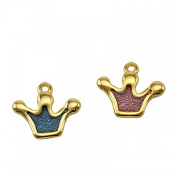 Zamak Charm Crown w/ Enamel 19x14mm