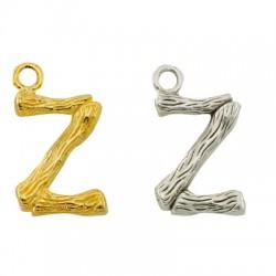 """Pendentif lettre """"Z"""" en Métal/Laiton 10x13mm"""