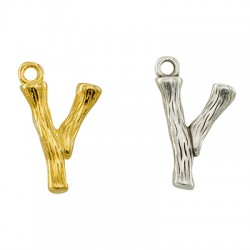 """Brass Charm Letter """"Y"""" 10x13mm"""