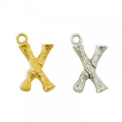 """Pendentif lettre """"X"""" en Métal/Laiton 10x13mm"""