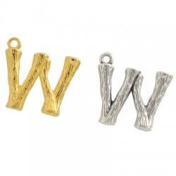 "Brass Charm Letter ""W"" 10x13mm"
