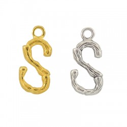 """Brass Charm Letter """"S"""" 10x13mm"""