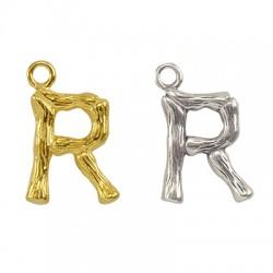 """Pendentif lettre """"R"""" en Métal/Laiton 10x13mm"""