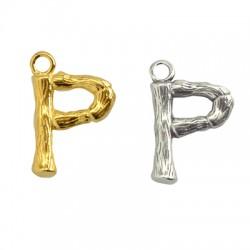 """Pendentif lettre """"P"""" en Métal/Laiton 10x13mm"""