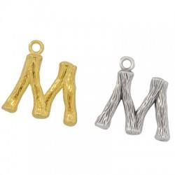 """Pendentif lettre """"M"""" en Métal/Laiton 10x13mm"""