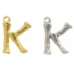"""Pendentif lettre """"K"""" en Métal/Laiton 10x13mm"""