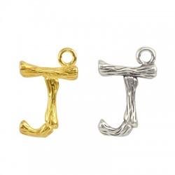 """Pendentif lettre """"J"""" en Métal/Laiton 10x13mm"""