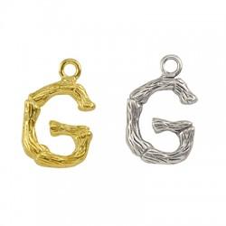 """Pendentif lettre """"G"""" en Métal/Laiton 10x13mm"""