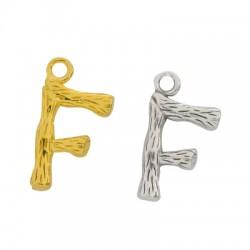"Brass Charm Letter ""F"" 10x13mm"