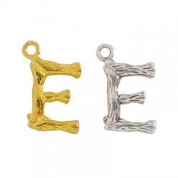 "Brass Charm Letter ""E"" 10x13mm"