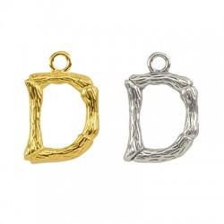 """Pendentif lettre """"D"""" en Métal/Laiton 10x13mm"""