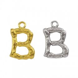 """Pendentif lettre """"B"""" en Métal/Laiton 10x13mm"""