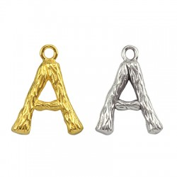 """Brass Charm Letter """"A"""" 10x13mm"""
