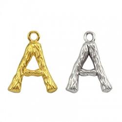 """Pendentif lettre """"A"""" en Métal/Laiton 10x13mm"""
