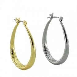 Brass Earring Oval Hoop 28x38mm
