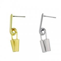 Brass Earring Irregular 10x33mm