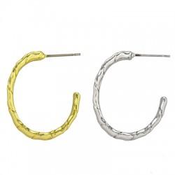 Brass Earring Oval Hoop 16x21mm
