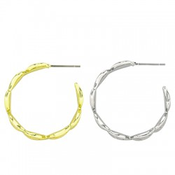 Brass Earring Leaves Hoop 27mm