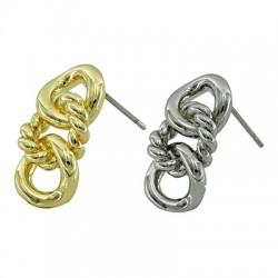 Brass Earring Chain Knot 10x19mm