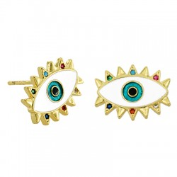 Brass Earring Eye w/ Zircon & Enamel 15x11mm